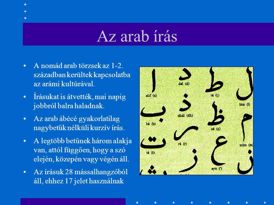 Az arab írás A nomád arab törzsek az 1-2. században kerültek kapcsolatba az arámi kultúrával.