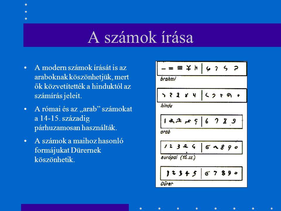 A számok írása A modern számok írását is az araboknak köszönhetjük, mert ők közvetítették a hinduktól az számírás jeleit.
