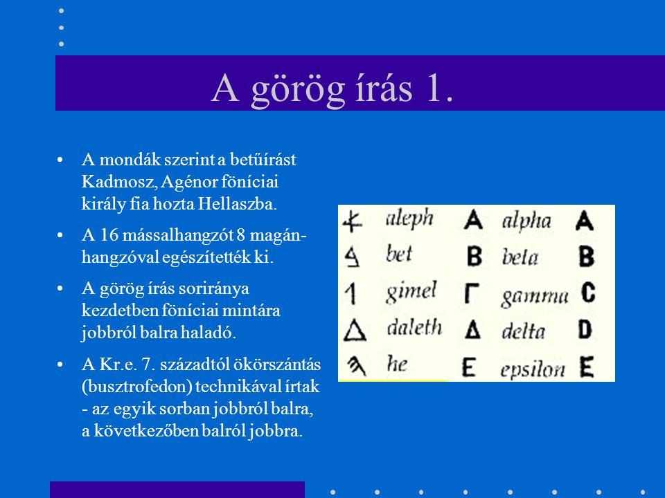 A görög írás 1. A mondák szerint a betűírást Kadmosz, Agénor föníciai király fia hozta Hellaszba.