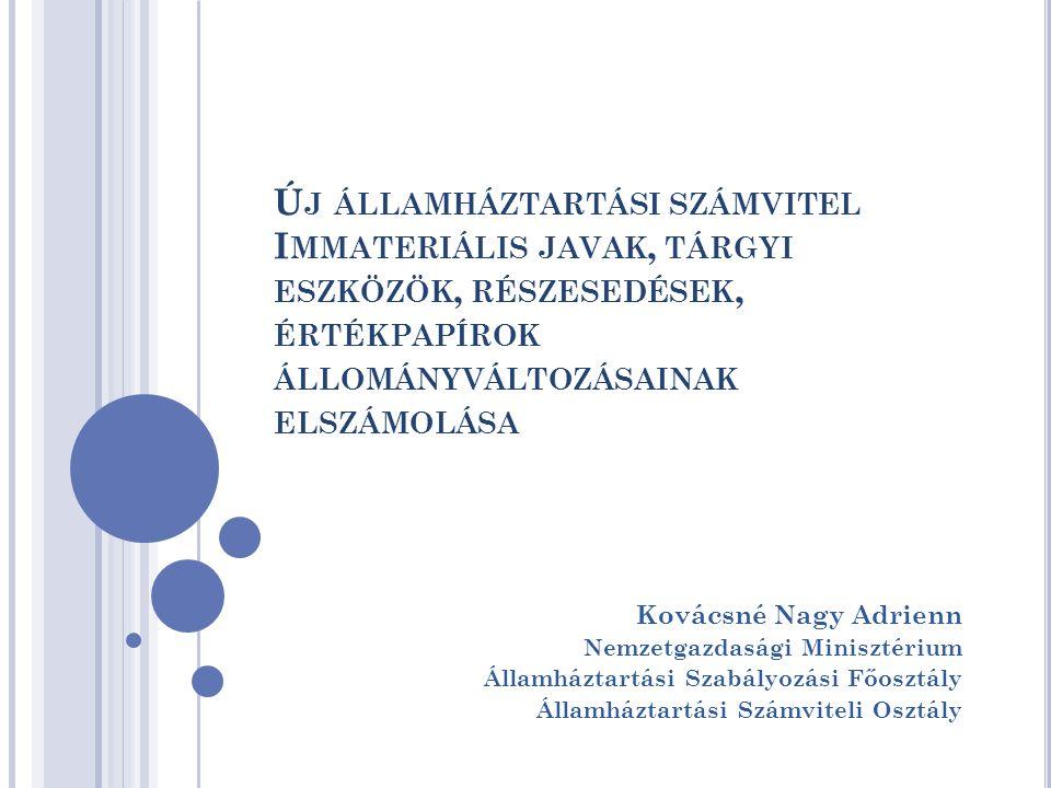 Új államháztartási számvitel Immateriális javak, tárgyi eszközök, részesedések, értékpapírok állományváltozásainak elszámolása
