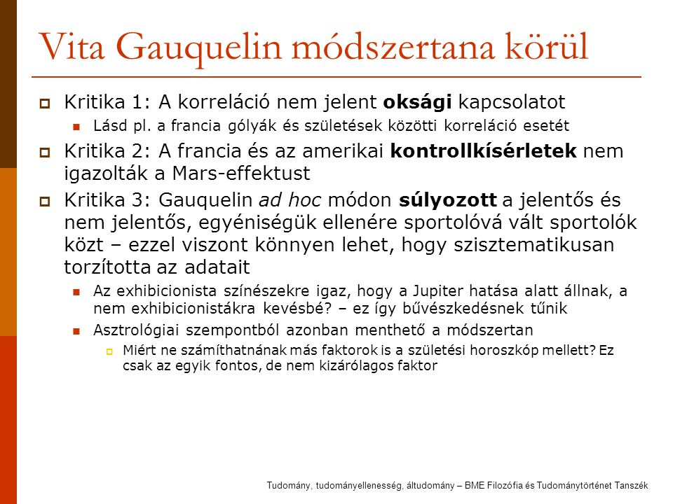 Vita Gauquelin módszertana körül