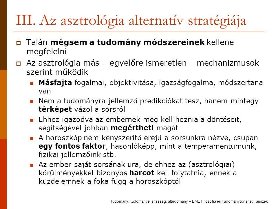 III. Az asztrológia alternatív stratégiája