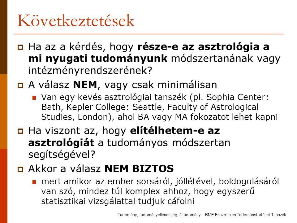 Következtetések Ha az a kérdés, hogy része-e az asztrológia a mi nyugati tudományunk módszertanának vagy intézményrendszerének