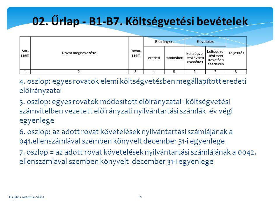 02. Űrlap - B1-B7. Költségvetési bevételek
