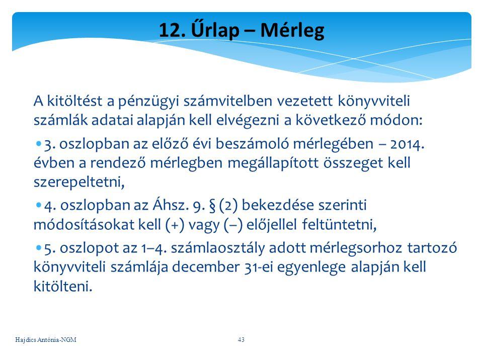 12. Űrlap – Mérleg A kitöltést a pénzügyi számvitelben vezetett könyvviteli számlák adatai alapján kell elvégezni a következő módon: