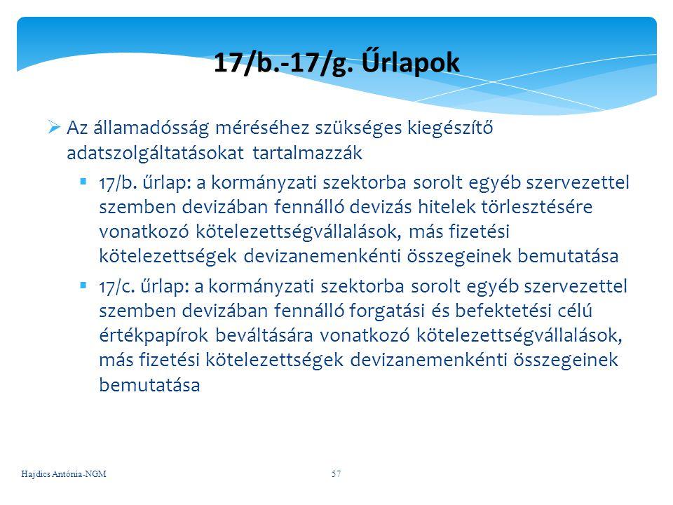 17/b.-17/g. Űrlapok Az államadósság méréséhez szükséges kiegészítő adatszolgáltatásokat tartalmazzák.