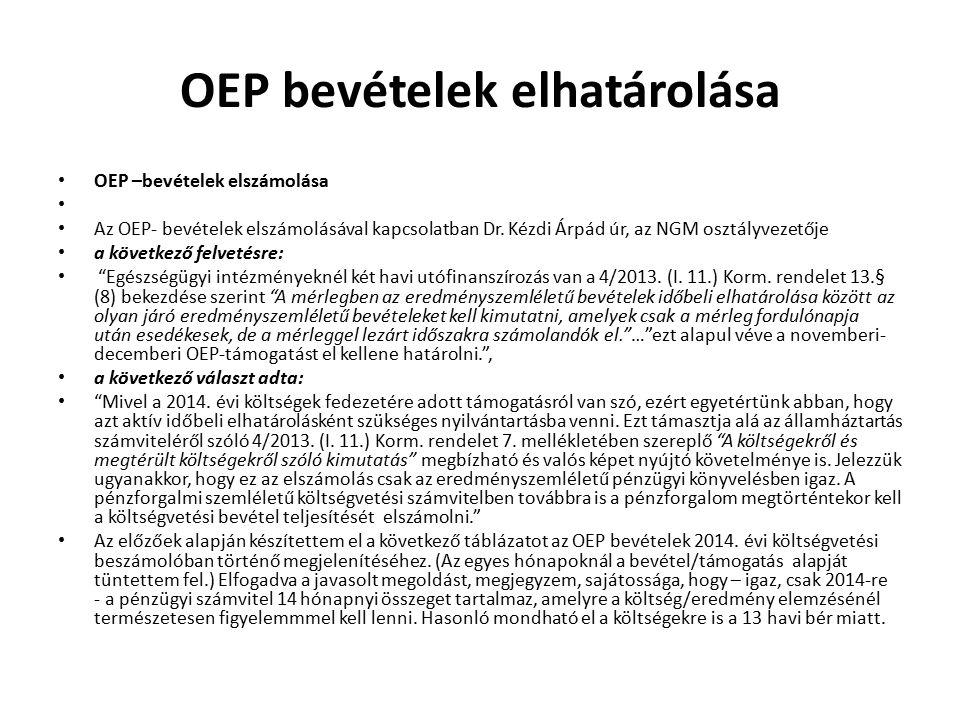 OEP bevételek elhatárolása