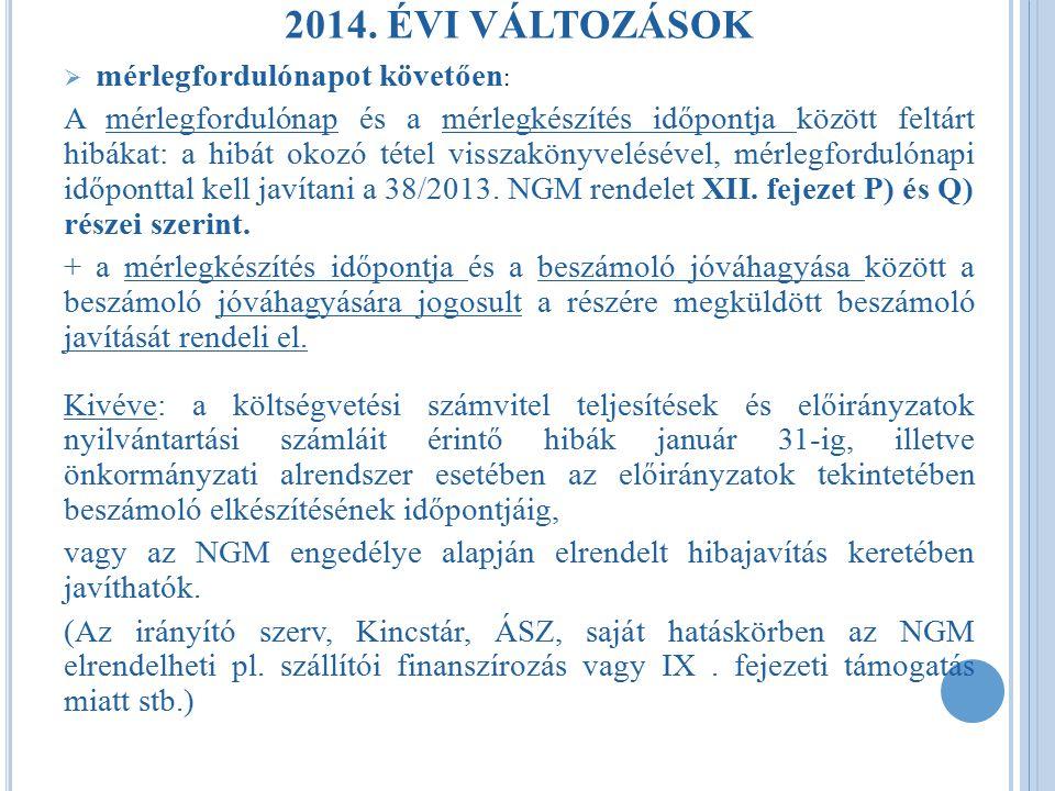 2014. ÉVI VÁLTOZÁSOK mérlegfordulónapot követően: