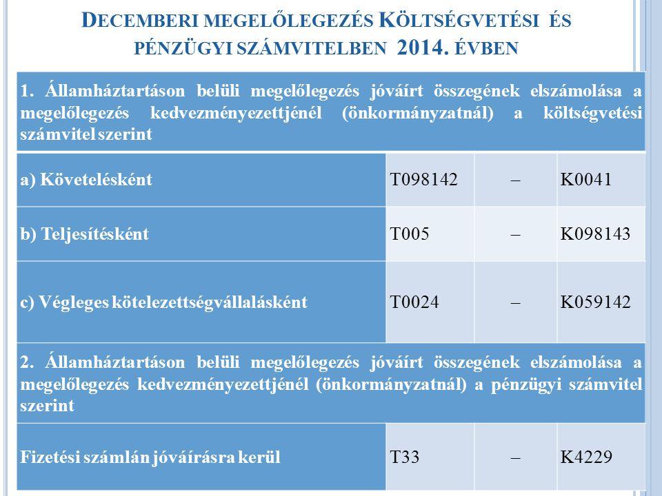 Decemberi megelőlegezés Költségvetési és pénzügyi számvitelben 2014