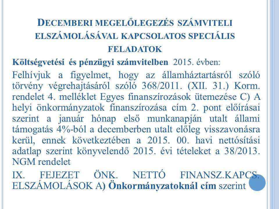 Decemberi megelőlegezés számviteli elszámolásával kapcsolatos speciális feladatok
