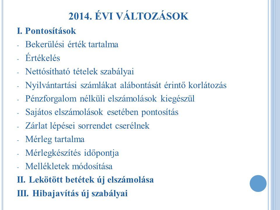 2014. ÉVI VÁLTOZÁSOK I. Pontosítások Bekerülési érték tartalma