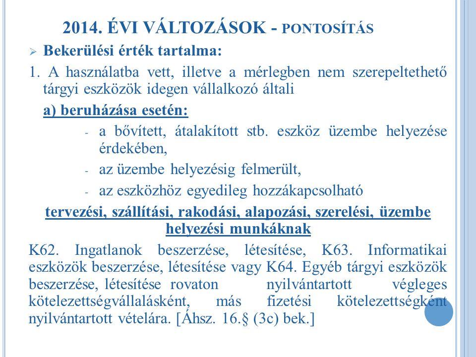2014. ÉVI VÁLTOZÁSOK - pontosítás