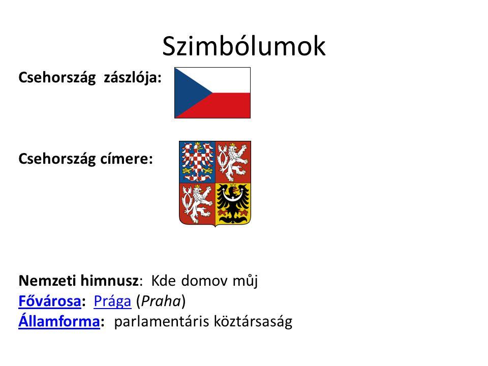 Szimbólumok Csehország zászlója: Csehország címere: Nemzeti himnusz: Kde domov můj Fővárosa: Prága (Praha) Államforma: parlamentáris köztársaság