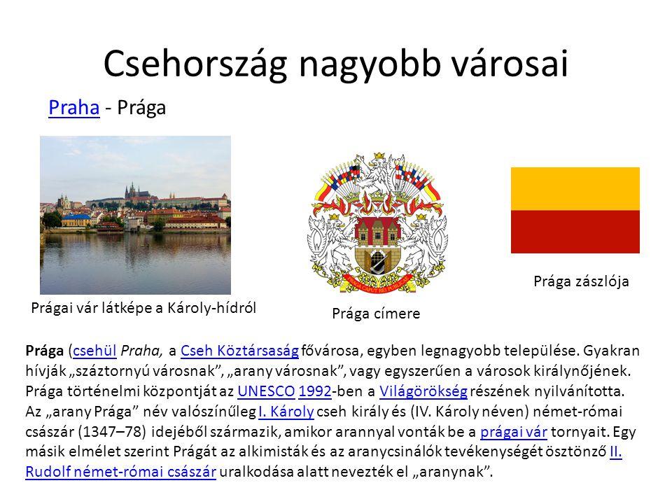 Csehország nagyobb városai