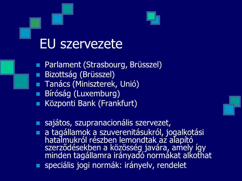 EU szervezete Parlament (Strasbourg, Brüsszel) Bizottság (Brüsszel)