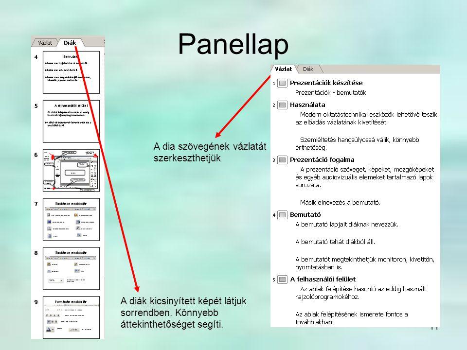 Panellap A dia szövegének vázlatát szerkeszthetjük