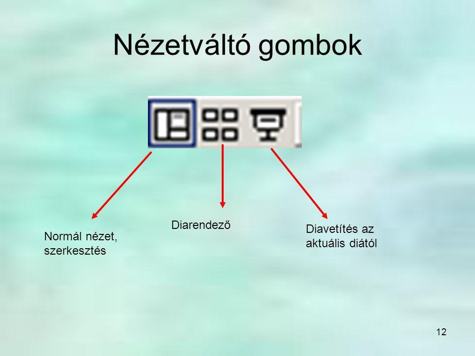 Nézetváltó gombok Diarendező Diavetítés az aktuális diától