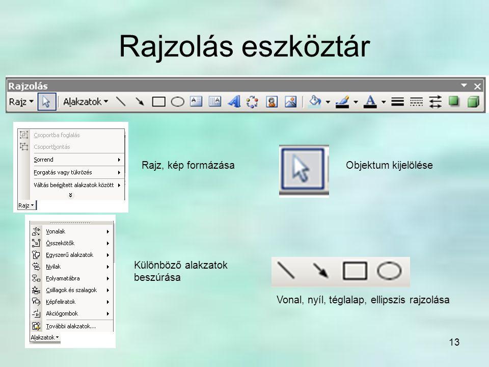 Rajzolás eszköztár Rajz, kép formázása Objektum kijelölése
