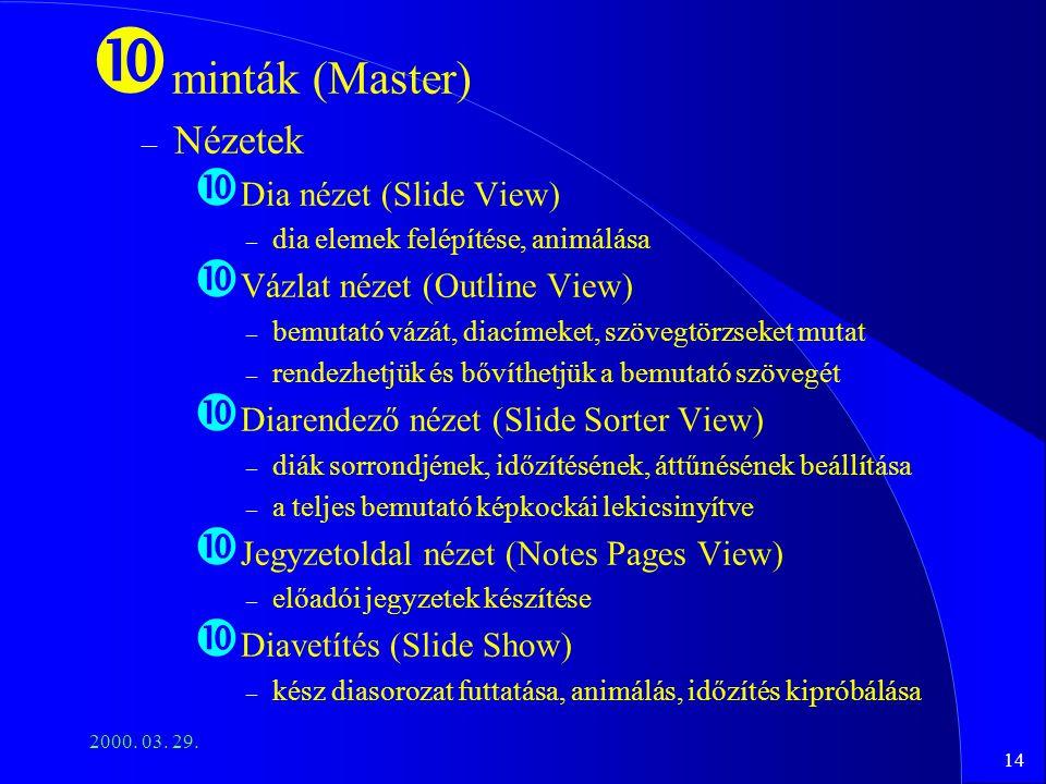 minták (Master) Nézetek Dia nézet (Slide View)
