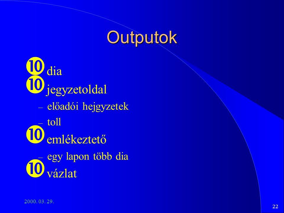 Outputok dia jegyzetoldal emlékeztető vázlat előadói hejgyzetek toll
