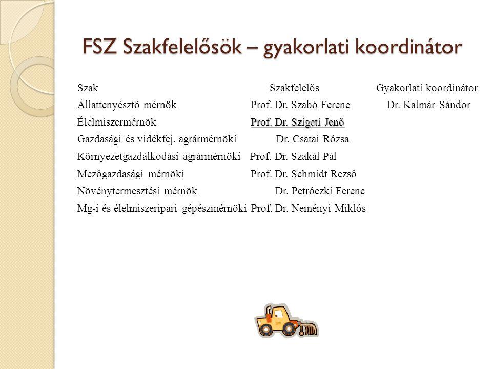FSZ Szakfelelősök – gyakorlati koordinátor