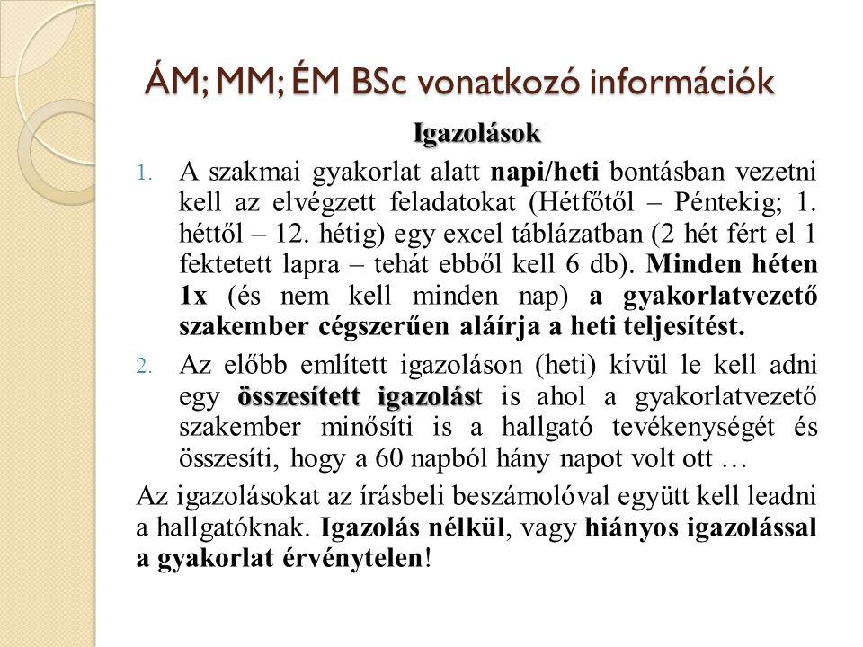 ÁM; MM; ÉM BSc vonatkozó információk
