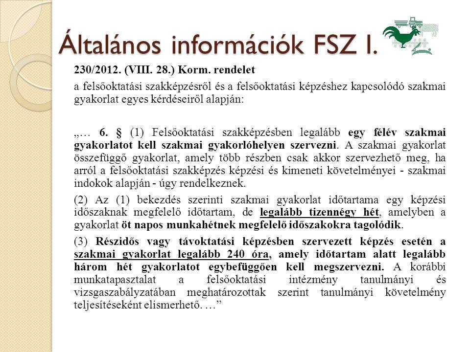 Általános információk FSZ I.
