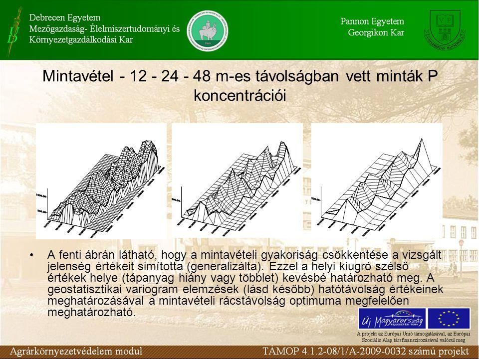 Mintavétel - 12 - 24 - 48 m-es távolságban vett minták P koncentrációi