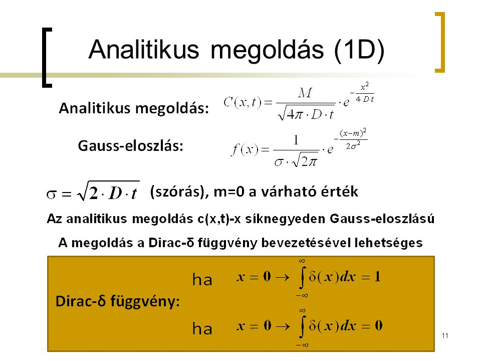 Analitikus megoldás (1D)