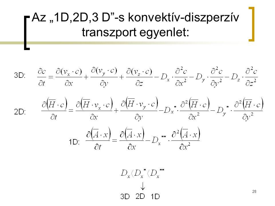 """Az """"1D,2D,3 D -s konvektív-diszperzív transzport egyenlet:"""