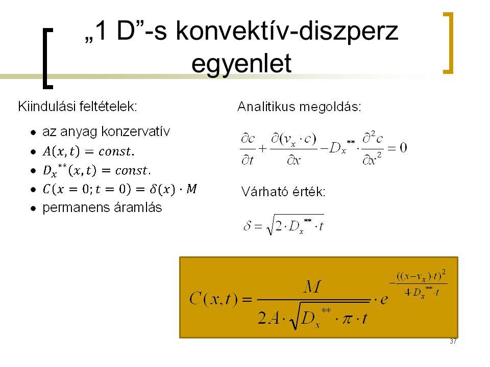 """""""1 D -s konvektív-diszperz egyenlet"""