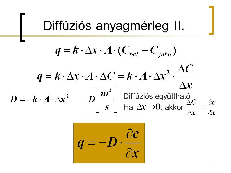 Diffúziós anyagmérleg II.