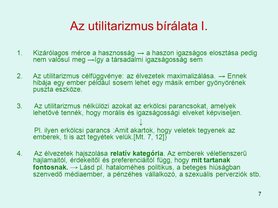 Az utilitarizmus bírálata I.