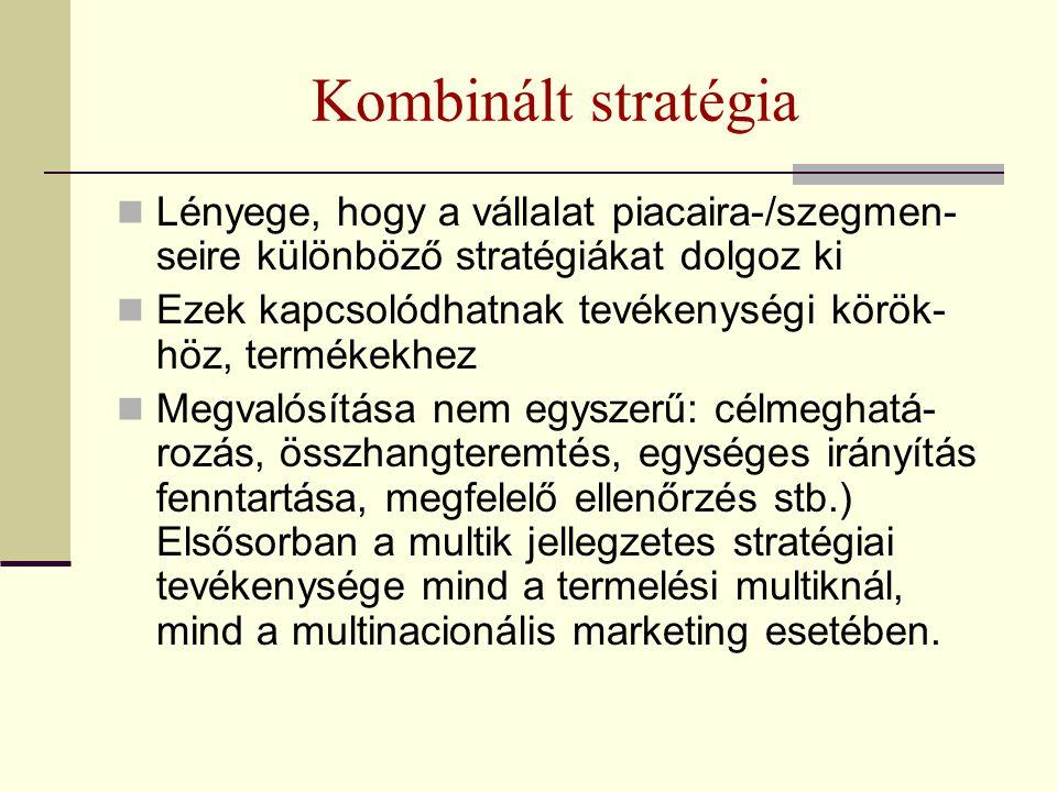Kombinált stratégia Lényege, hogy a vállalat piacaira-/szegmen-seire különböző stratégiákat dolgoz ki.