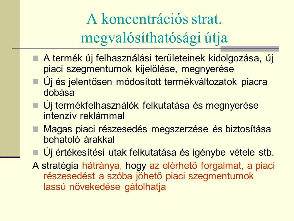 A koncentrációs strat. megvalósíthatósági útja