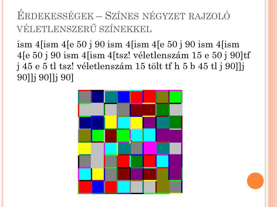 Érdekességek – Színes négyzet rajzoló véletlenszerű színekkel