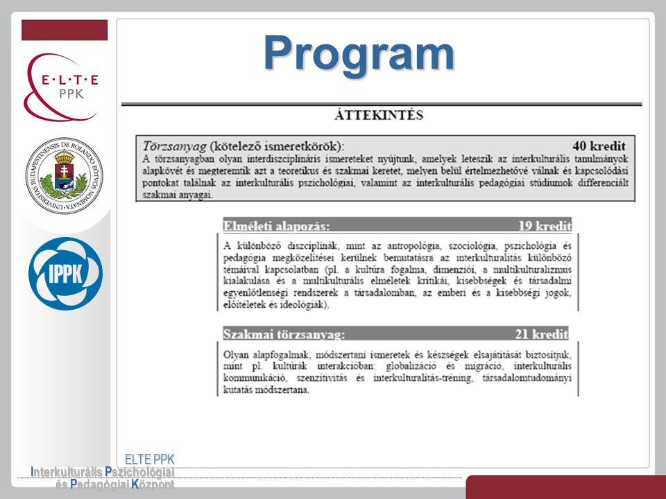 Program ELTE PPK Interkulturális Pszichológiai és Pedagógiai Központ