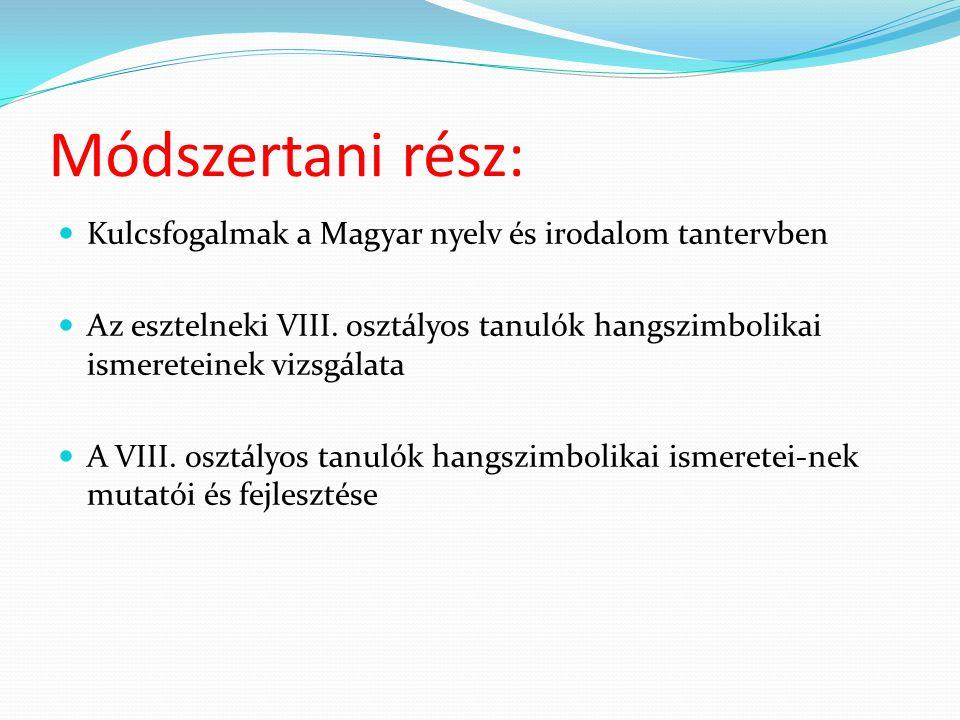 Módszertani rész: Kulcsfogalmak a Magyar nyelv és irodalom tantervben