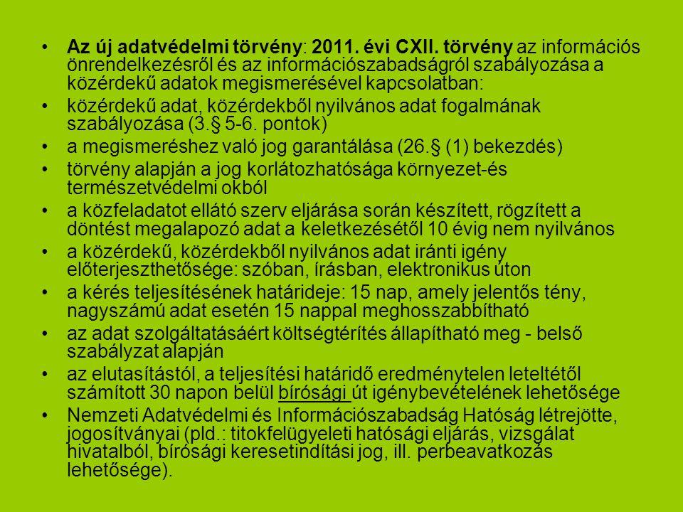 Az új adatvédelmi törvény: 2011. évi CXII