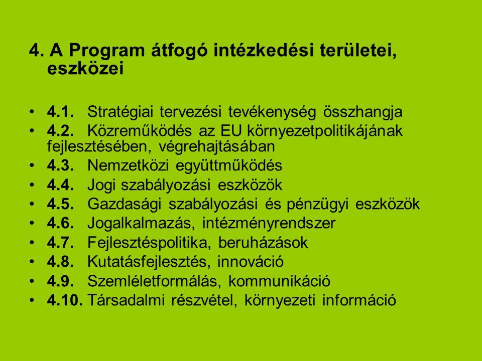 4. A Program átfogó intézkedési területei, eszközei