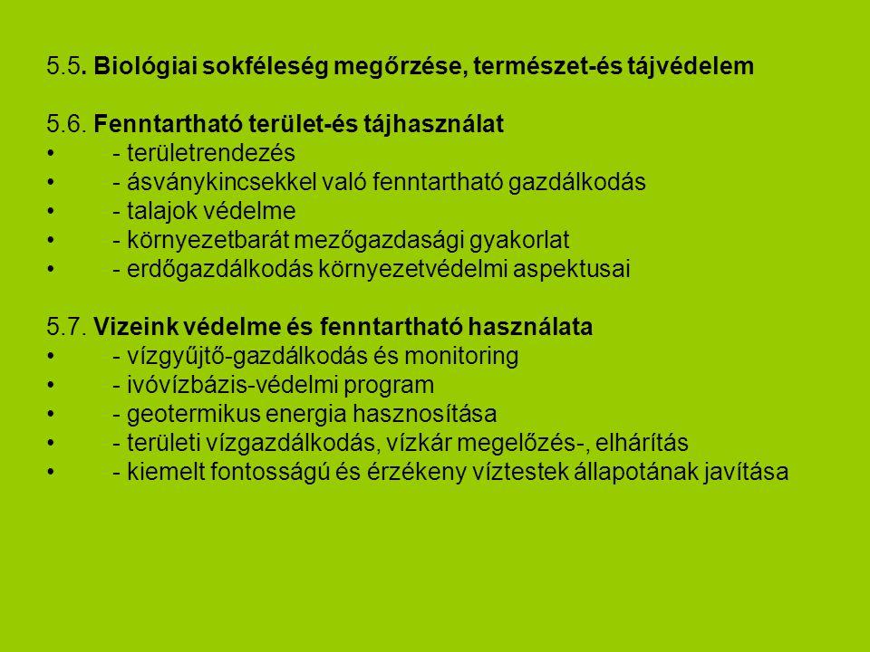 5.5. Biológiai sokféleség megőrzése, természet-és tájvédelem