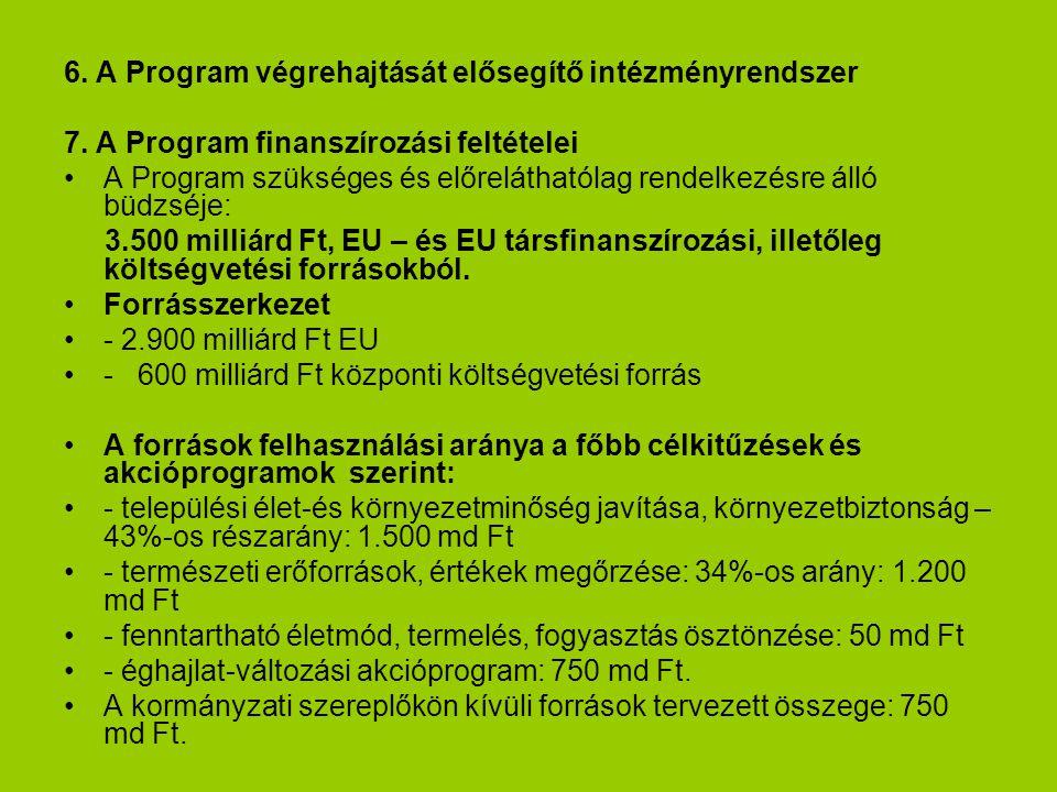 6. A Program végrehajtását elősegítő intézményrendszer