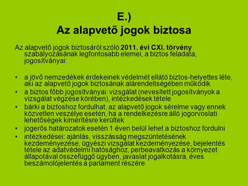 E.) Az alapvető jogok biztosa