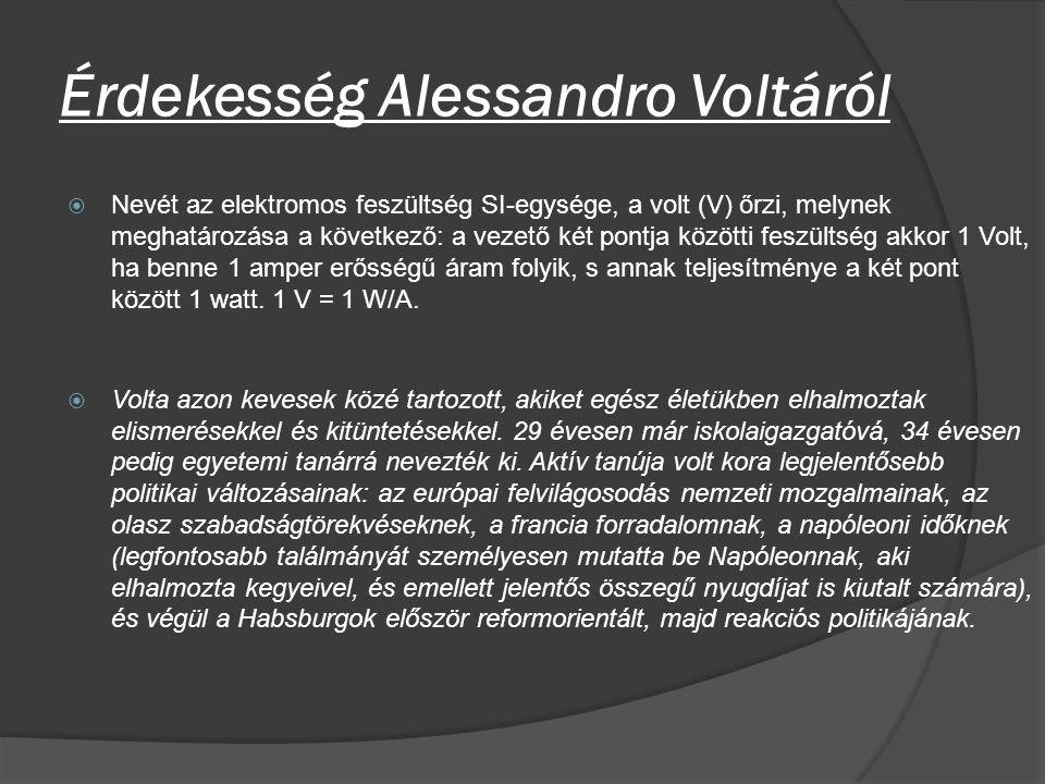 Érdekesség Alessandro Voltáról