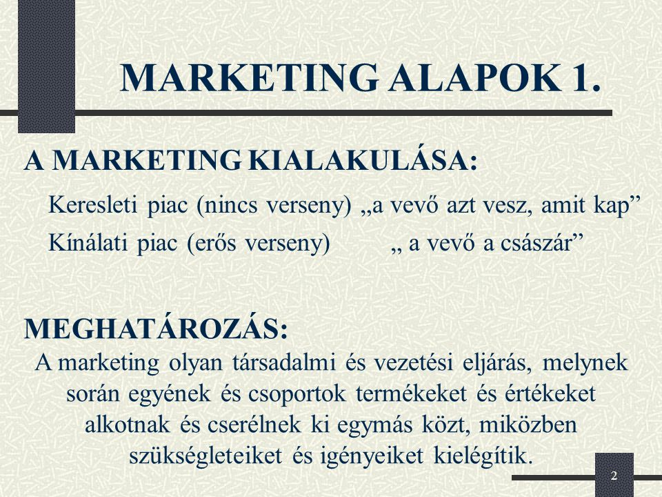 MARKETING ALAPOK 1. A MARKETING KIALAKULÁSA: