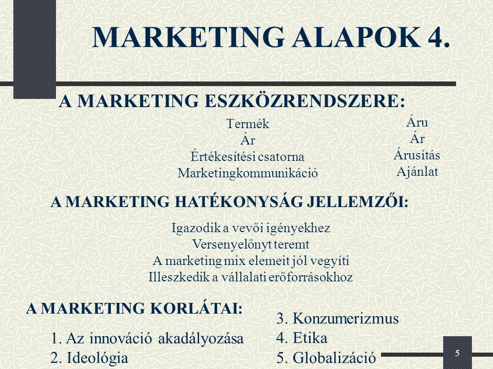 MARKETING ALAPOK 4. A MARKETING ESZKÖZRENDSZERE: