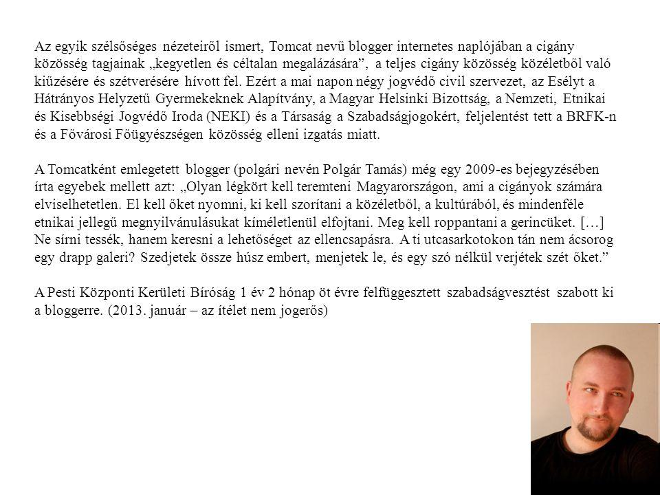 """Az egyik szélsőséges nézeteiről ismert, Tomcat nevű blogger internetes naplójában a cigány közösség tagjainak """"kegyetlen és céltalan megalázására , a teljes cigány közösség közéletből való kiűzésére és szétverésére hívott fel. Ezért a mai napon négy jogvédő civil szervezet, az Esélyt a Hátrányos Helyzetű Gyermekeknek Alapítvány, a Magyar Helsinki Bizottság, a Nemzeti, Etnikai és Kisebbségi Jogvédő Iroda (NEKI) és a Társaság a Szabadságjogokért, feljelentést tett a BRFK-n és a Fővárosi Főügyészségen közösség elleni izgatás miatt."""