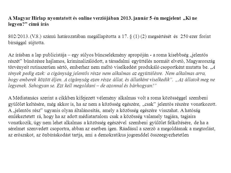 A Magyar Hírlap nyomtatott és online verziójában 2013