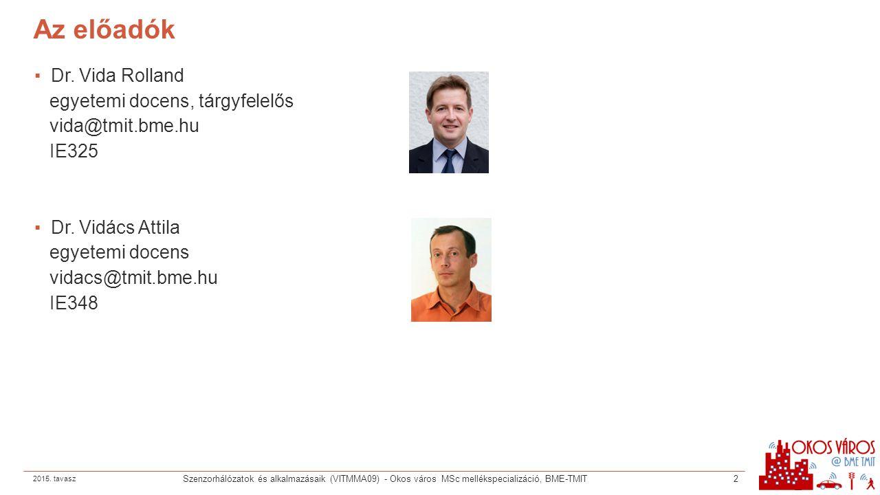Az előadók Dr. Vida Rolland egyetemi docens, tárgyfelelős