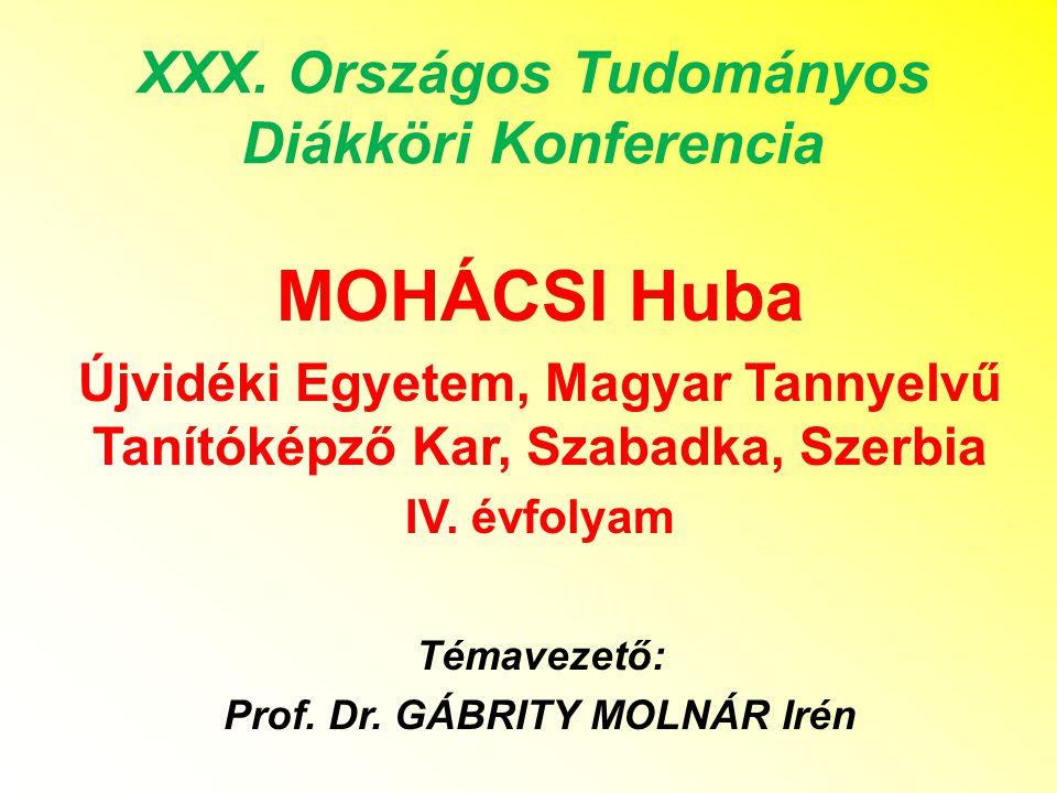 MOHÁCSI Huba XXX. Országos Tudományos Diákköri Konferencia